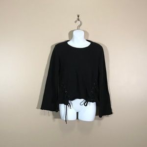 Betsey Johnson Black Lace Up Cropped Sweater